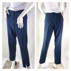 St John Blue Dress Pants Trousers Ankle Slit 6